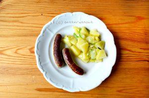 Gluten- und laktosefreier Kartoffelsalat mit Nürnbergern