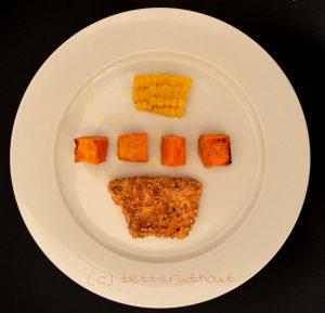 Lachs in Sesam paniert mit Mais und Süßkartoffeln