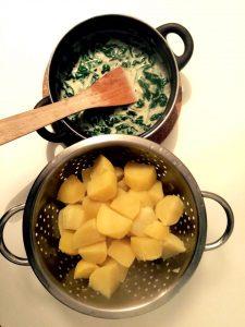 Kartoffeln mit Spinatgorgonzolasoße