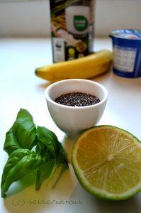 Bananen-Basilikum Smoothie mit Chiasamen - Zutaten