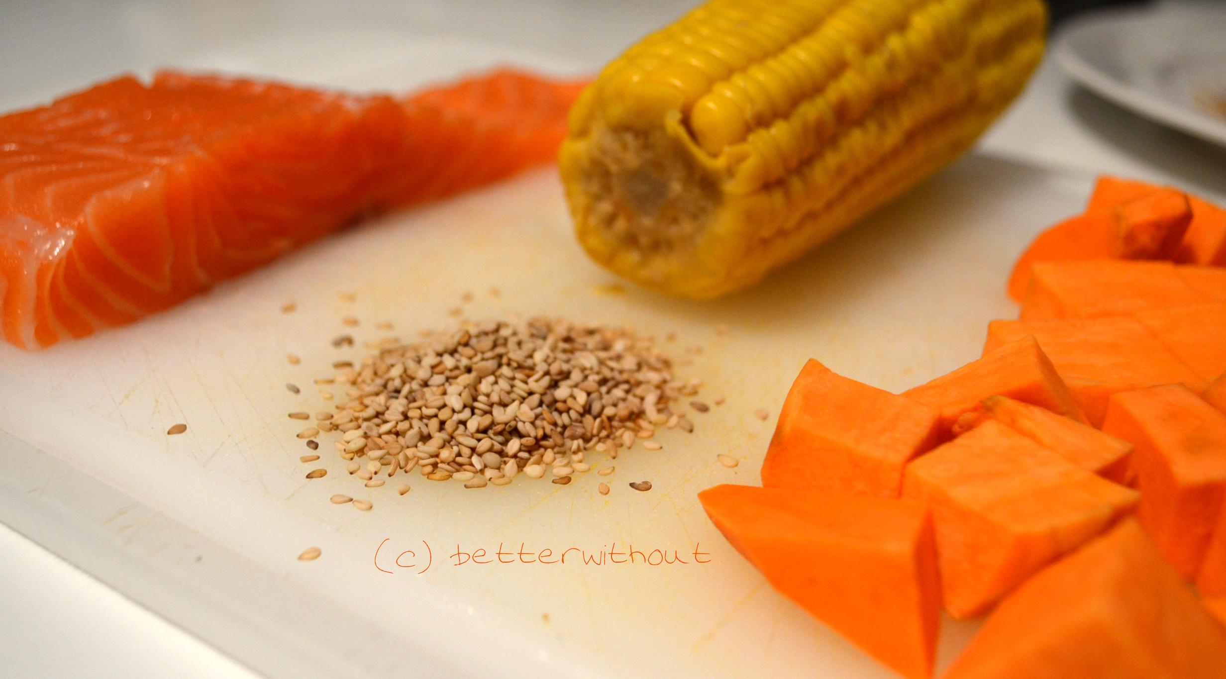 Zutaten für in Sesam panierten Lachs